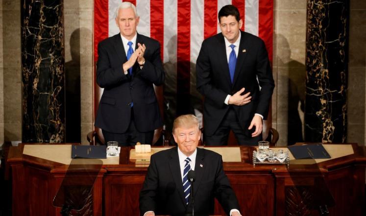 الرئيس الأمريكي دونالد ترامب في أول خطاب له أمام الكونغرس الأمريكي