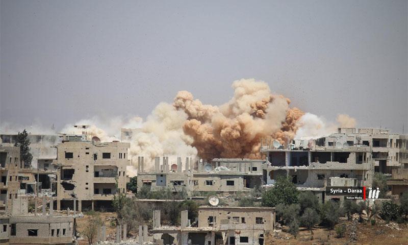 قصف جوي عنيف تشهده مدينة درعا