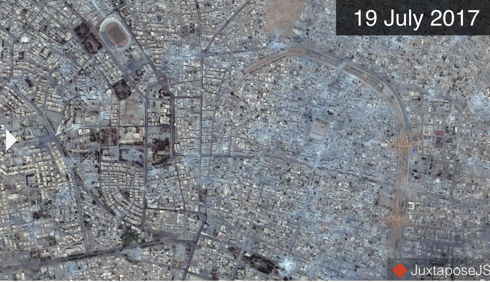 بالصور دمار مرعب في مدينة الرقة منذ بداية المعارك فيها.